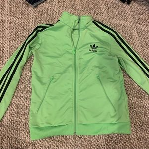 green adidas tracksuit zip up sweater